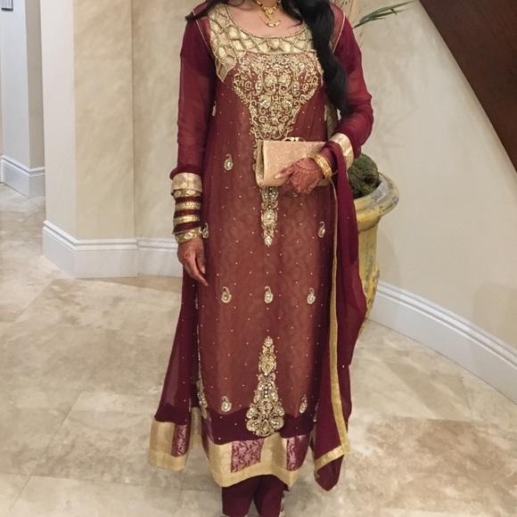cc2ac0a024 Salwar Kameez Dresses | Maroon And Gold Pakistani | Poshmark